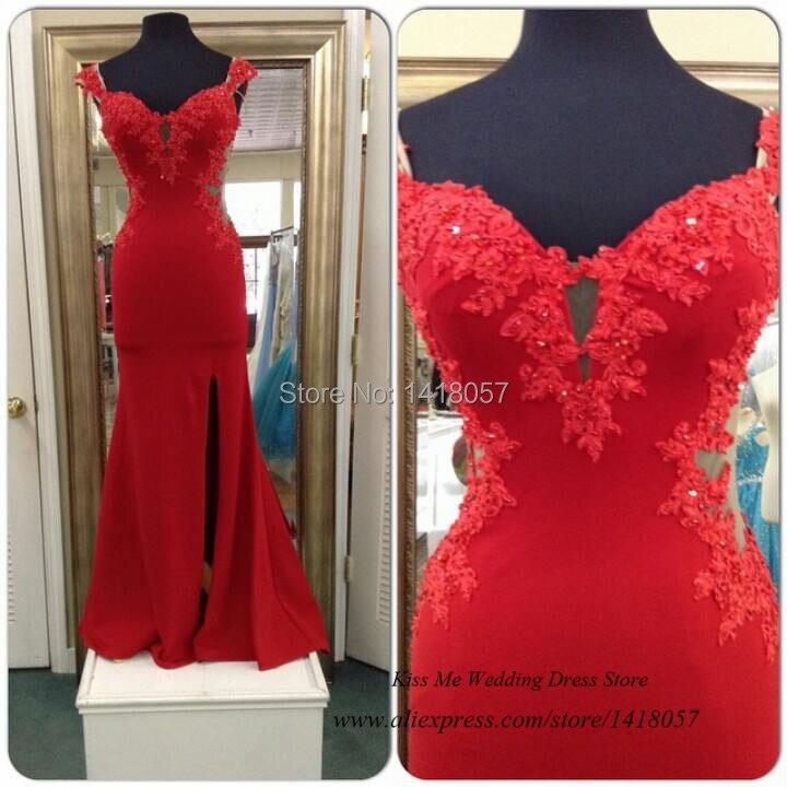 Real Sample Cheap Long   Evening     Dresses   Lace Beads Cap Sleeve 2015 Red Mermaid Prom   Dress   Chiffon Slit Vestido de Baile Avondjurk