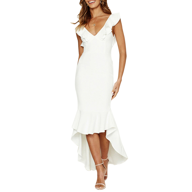 LASPERAL Sexy Sleeveless Backless Women Dress Summer 2019 Ruffles Vintage White Bodycon Dresses Party Long Maxi Fishtail Dress