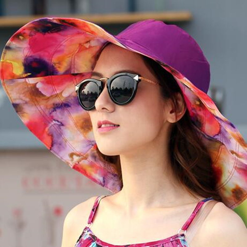 bbd09364895 2018 Summer large brim beach sun hats for women UV protection women caps hat  with big head foldable style fashion lady s sun hat