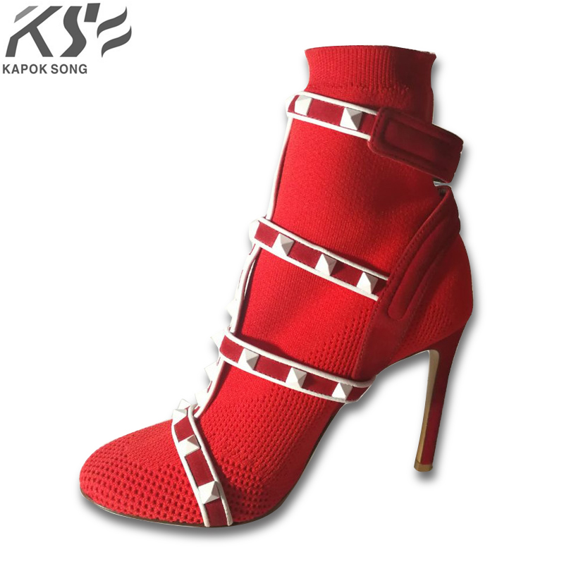 ankle boots for women leather boots luxury designer socks shoes short  female knitting weave fashion high heel boots 10cm heel