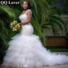 QQ Lover Arabic Style Plus Size Wedding Dress 2017 Deep V Neck Beading Layer Mermaid Wedding Chapel Train Beach Bridal Dress