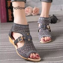 Sandals Women Summer Flat Casual Shoes Peep Toe Rome Style Sandalia Feminina Fashion Gladiator Ladies Mujer