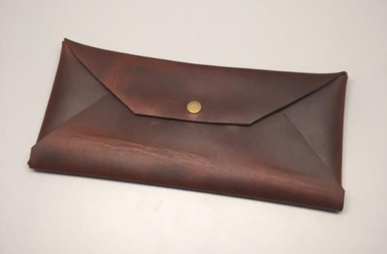 Handmade Full Grain Leather Envelope Made With Heavy Duty Snaps  It Measures 4.5