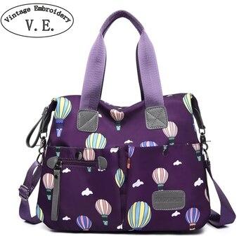 Parachute Impresso Bolsa das mulheres Ocasional saco de Nylon Impermeável Sacos de Viagem bolsa de Ombro Grande Capacidade Messenger Bag Bolsos Mujer