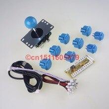 6 X SANWA OBSF-30 &2 X Reyann Push Buttons +SANWA JLF-TP-8YT Joystick+ PC Encoder With MicroswitchFor Arcade Mame Game DIY-Blue