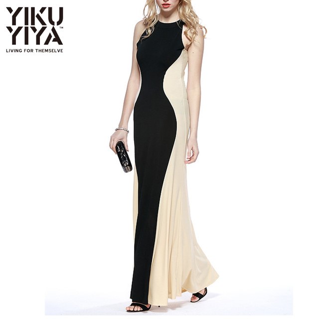 fcca7929e818d YIKUYIYA Black Sexy Bodycon Maxi Dress Fashion Color Block Off Shoulder  Shaping Maxi Dress White Round Neck Sleeveless Dress