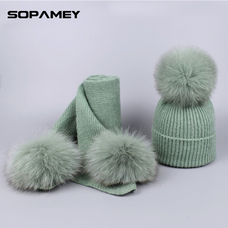 Winter Women's Fox Fur Pompom Hat Cap and Scarf Set Wool Knitted Funny Skullies Beanies Warm Skiing Mask New Year Top Hat Bone knitted skullies cap the new winter all match thickened wool hat knitted cap children cap mz081