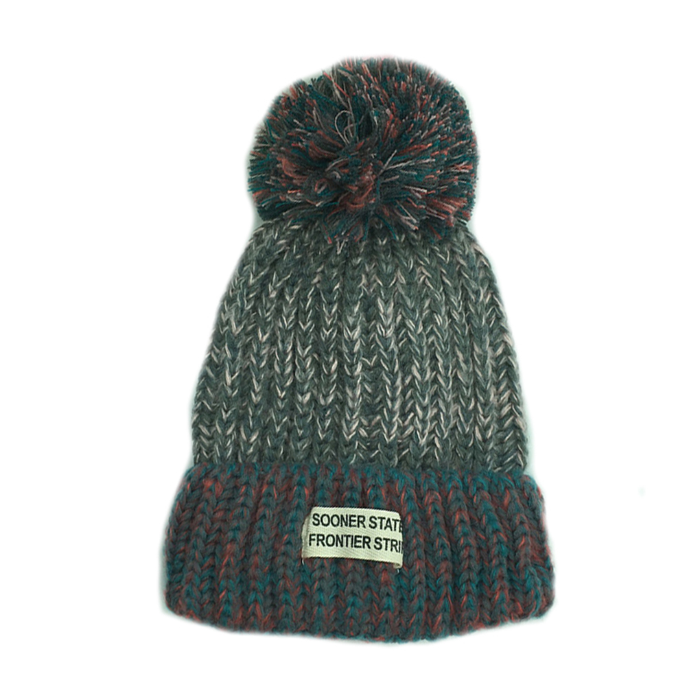 Women's Woven Lable Decoration Knit Hats with Splicing Color Warm Beanie Caps