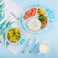 5pcs Cartoon Fish dishes children plate set bamboo fiber dinnerware set for kids