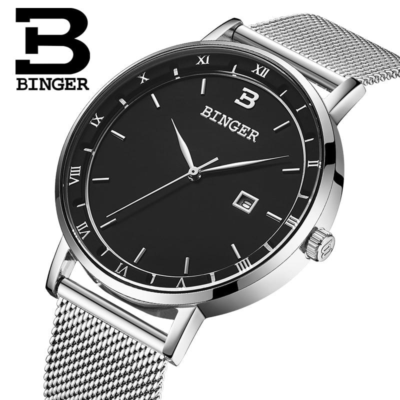 Switzerland BINGER Men Watches Luxury Brand Watch Men Quartz reloj hombre Japan Miyota Movement Waterproof Wristwatches B2001M-1