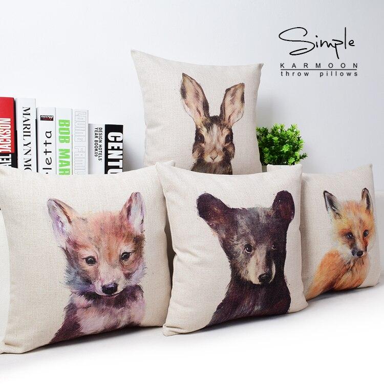 Oil Painting Style Pillow Throw Pillow Chair Seat Car Hotel Pillow Animal Cartoon Cotton Linen Bear
