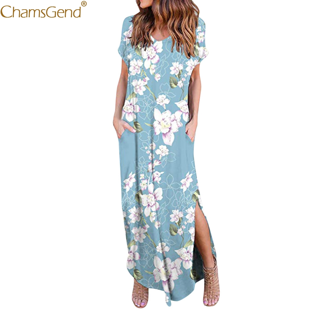 Casual Loose Pocket summerformal dress women elegant summer dresses women 2019 Long Dress Short Sleeve Split Print Mar