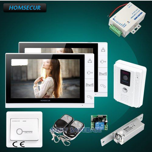 HOMSECUR 9 Wired Video&Audio Home Intercom+White Camera for Home Security 1C2M