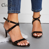 New fashion patent leather high heels 10cm cross buckle with stiletto sandals sexy open toe wild party Romanesque women's shoes