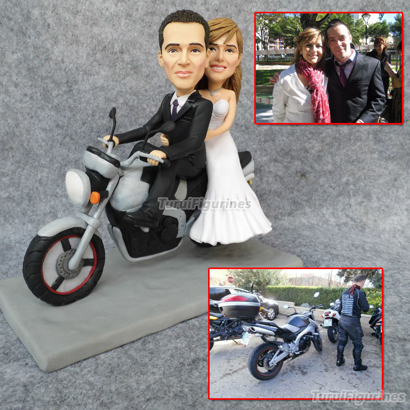custom wedding cake topper with car mini motobike handmade personalized doll figurines motorcycle cake toppers for wedding cakes