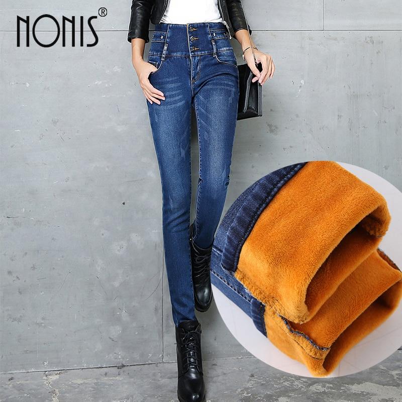 Nonis 2017 New Winter Warm Thick Velvet Skinny Jeans for Woman High Waist Blue Trousers pencil Pants Plus size 26-34 Pantalon