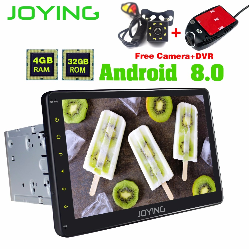 JOYING 10 inch Android 8.0 Octa 8 Core 4G RAM 32G ROM Car Radio player GPS Navigation BT WIFI with Free DVR and Rear View Camera цена