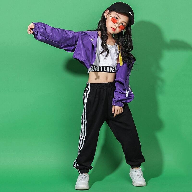 2019 Hip Hop Costumi Di Danza Per Bambini Giacca Viola Nero Pantaloni Delle Ragazze Di Ballo Di Strada Vestito Dei Bambini In Scena Vestiti Di Jazz Usura Dn3030
