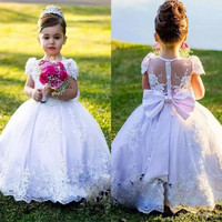 2018 Flower Girl Dresses Vintage Jewel Sash Bow Lace Baby Girl Birthday Party Christmas Communion Dresses Girls Party Gown