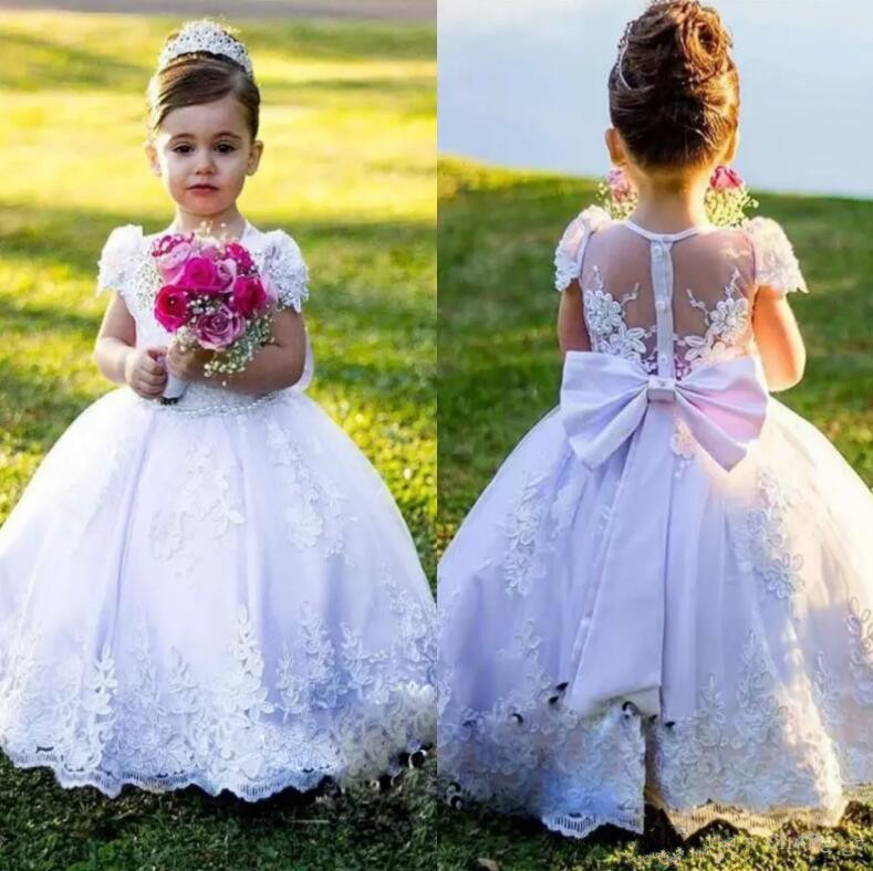 Lovely   Flower     Girl     Dress   with Bow Buttons Baby   Girl   Birthday Party Gowns Illusion Back Covered With Buttons First Communion Gown