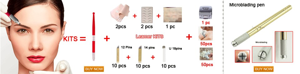 Dia 0.2mm 18-pin U Shape Tattoo Eyebrow Needle Manual Needle Blade 3D Embroidery 100pcs Black Microblading blades 1