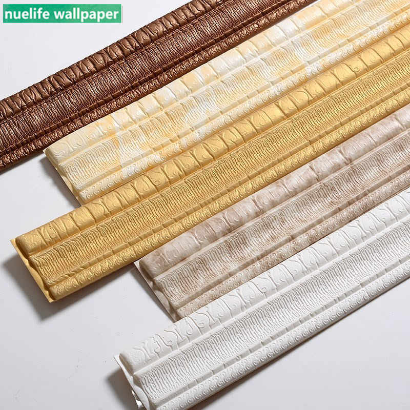 6pcs 3d wall stickers soft edging strip foam waist line ceiling line kitchen living room bedroom waterproof baseboard sticker