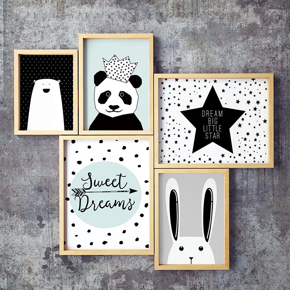 Simple Nordic Style Prints Cartoon Panda Posters Canvas Painting Wall Art Stars Picture Baby Kids Room Rabbit Home Decoration