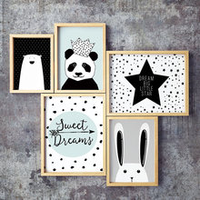 Simple Nordic Style Prints Cartoon Panda Posters Canvas Painting Wall Art Stars Picture Baby Kids Room Rabbit Home Decoration(China)