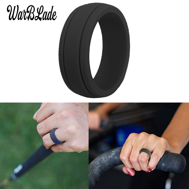 Galleria fotografica 2019 New 8mm Hypoallergenic Crossfit Flexible Rubber Finger Ring Food Grade FDA Silicone Rings For Women Men Wedding Rings Bands