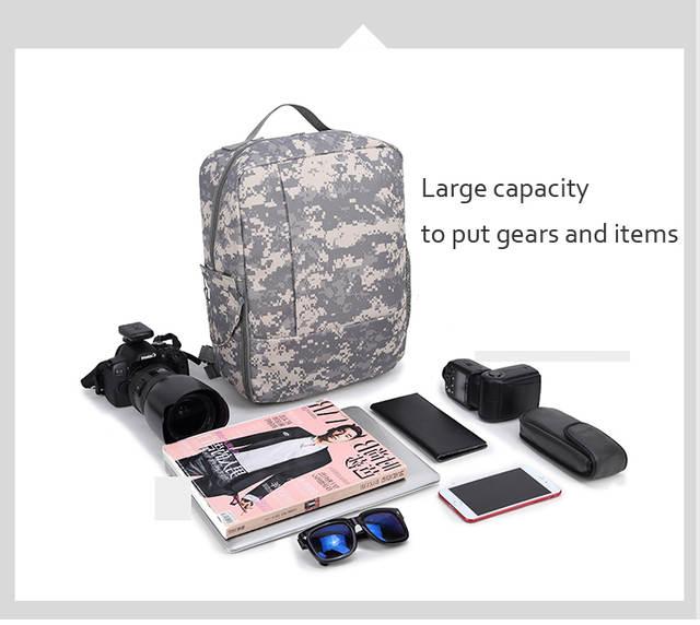 7064430977e9 US $39.89 5% OFF|Roadfisher Camo Black Photography DSLR Digital SLR Camera  Backpack Travel Bag Insert 16'' 15'' Laptop Case For Canon Nikon Sony-in ...