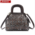 JOOZ New Vintage Genuine Leather Hand bags small cowhide shoulder bag embossed Short handle women messenger bag