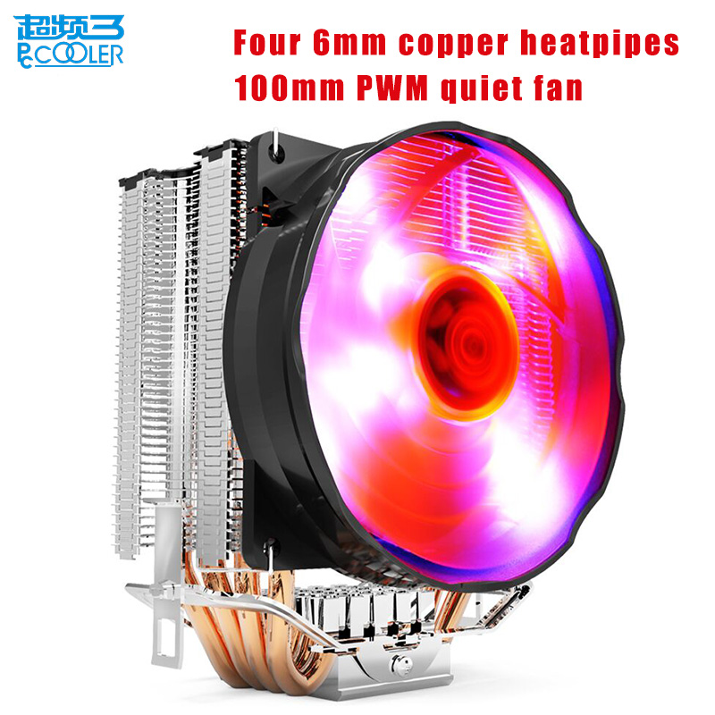 Pccooler CPU cooler 4 copper heatpipes 4pin 100mm PWM quiet fan for AMD Intel 775 115x computer PC cpu cooling radiator fan 1 piece jonsbo fr 201p 120mm pc case cooler cpu fan radiators computer cooling fan led light 4pin pwm for intel amd diy mod