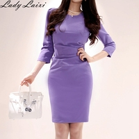 2019 Newest Vintage Draped Ruched Waist Wear to Work 3/4 Sleeve O Neck Bodycon Woman Office Pencil Summer Dress work Vestidos
