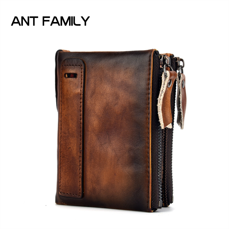 Genuine Leather Men Wallet Small 2018 New Men Walet Zipper&Hasp Male Portomonee Short Coin Purse Brand Perse Carteira For Rfid joyir wallet women men leather genuine vintage coin purse zipper men wallets small perse solid rfid card holder carteira hombre