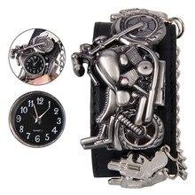 Hot selling New Hot Punk Rock Chain Skull Women Men Big Leather Bracelet Cuff Gothic Quartz Wrist Watch saat Uhren clock xfcs