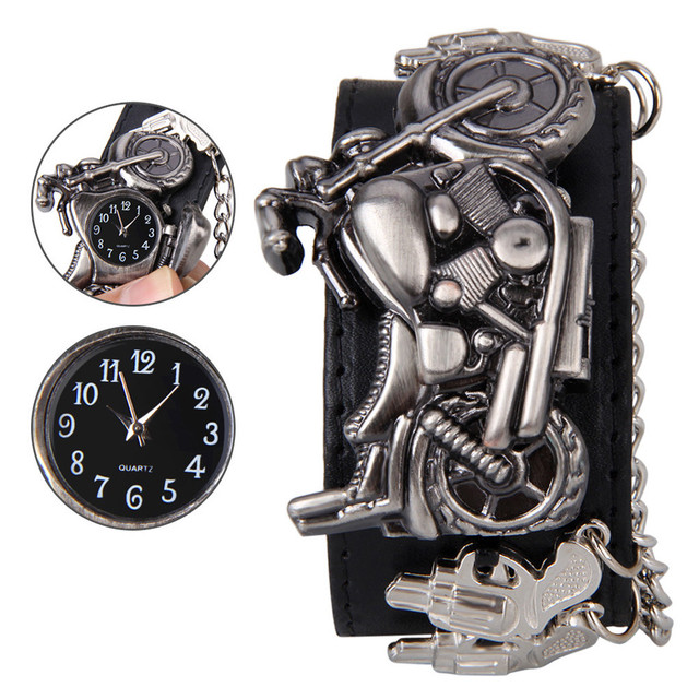 Hot selling New Hot Punk Rock Chain Skull Women Men Big Leather Bracelet Cuff Go