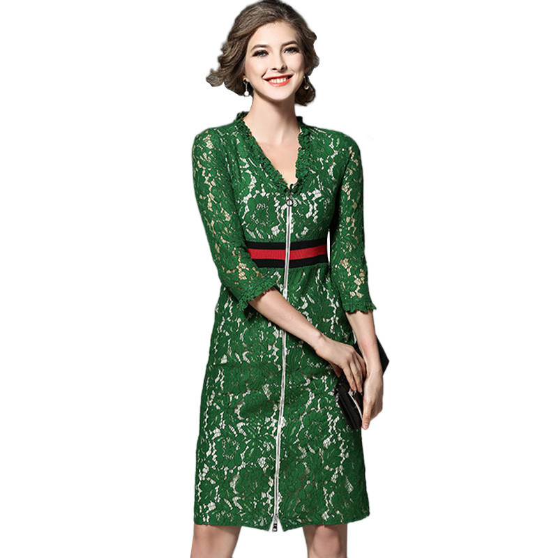 2017 Spring Summer Womens Green Lace Dresses Elegant ...
