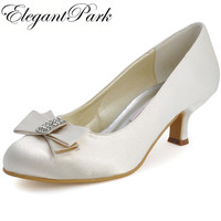 Women Shoes A2000 Ivory White Med Heels Bow Rhinestone Round Toe Satin Women Prom Wedding Bridal