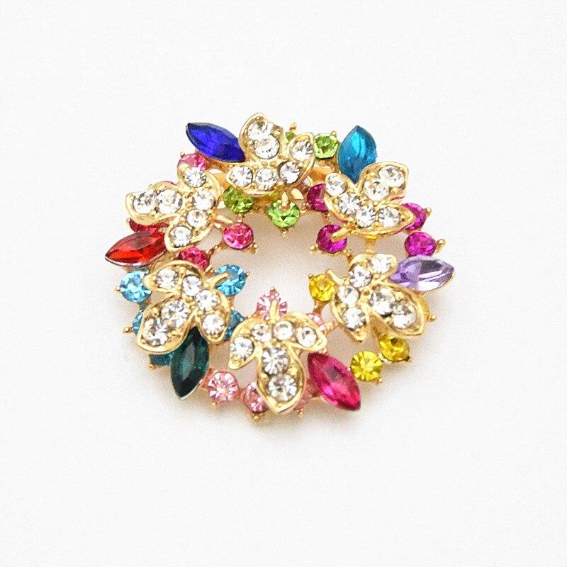 ᗕBrillante color mixto cristales pretty hoja de la flor broche de ...