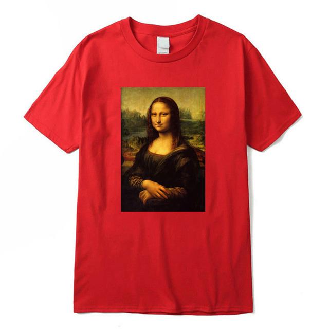 T camisa de los hombres de la Mona Lisa camiseta mujer de algodón de verano de o-Cuello de alta calidad camisetas Leonardo Da Vinci Streetwear camiseta Unisex