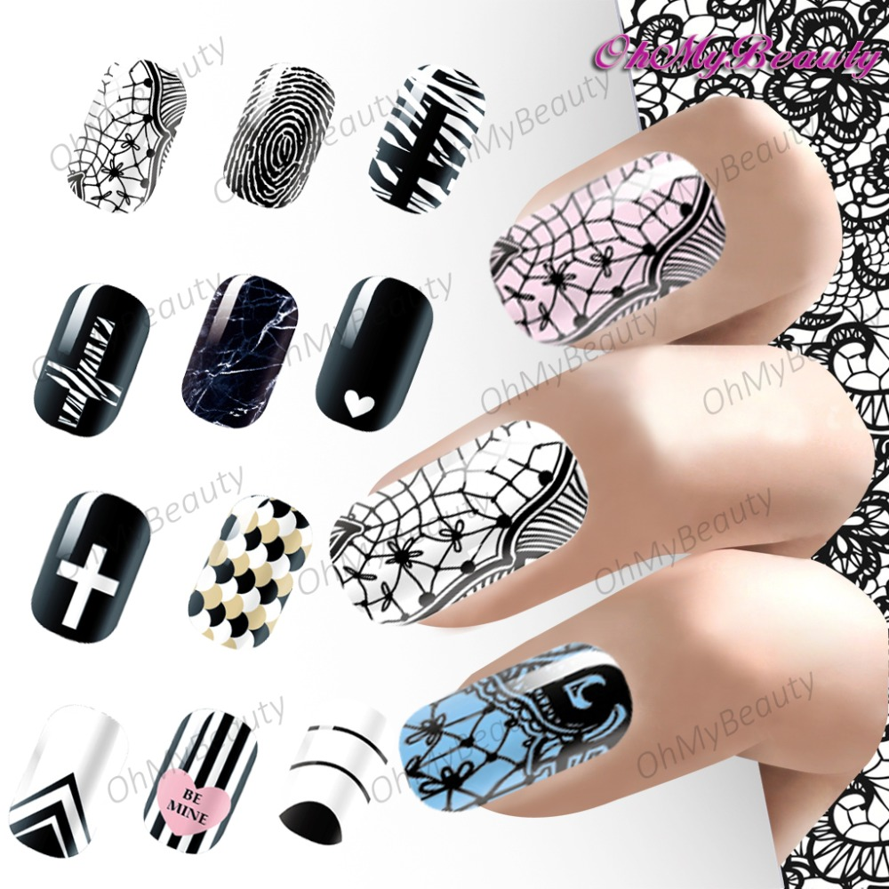 Popular Set Nail Stickers Water Transfer Foil Decals Nail Art ...