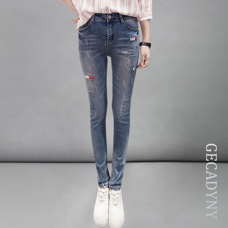 Fashion Mid Waist Jeans High Elastic Plus Size Women Jeans Woman Femme Washed Casual Skinny Letters Pencil Denim Pants Trousers model jd 15 transmission gearbox for tamiya truck