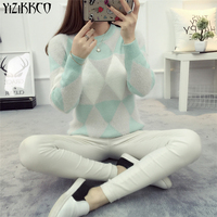 YiZiKKCO Brand Woman Sweater Pullover 2016 Autumn Winter Fashion O Neck Argyle Candy Pullovers Pull Femme