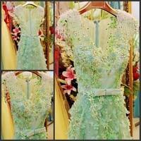 2014 New Design Real Picture Sheath V Neck Floor Length Crystal Beaded Sexy Kaftan Evening Dresses