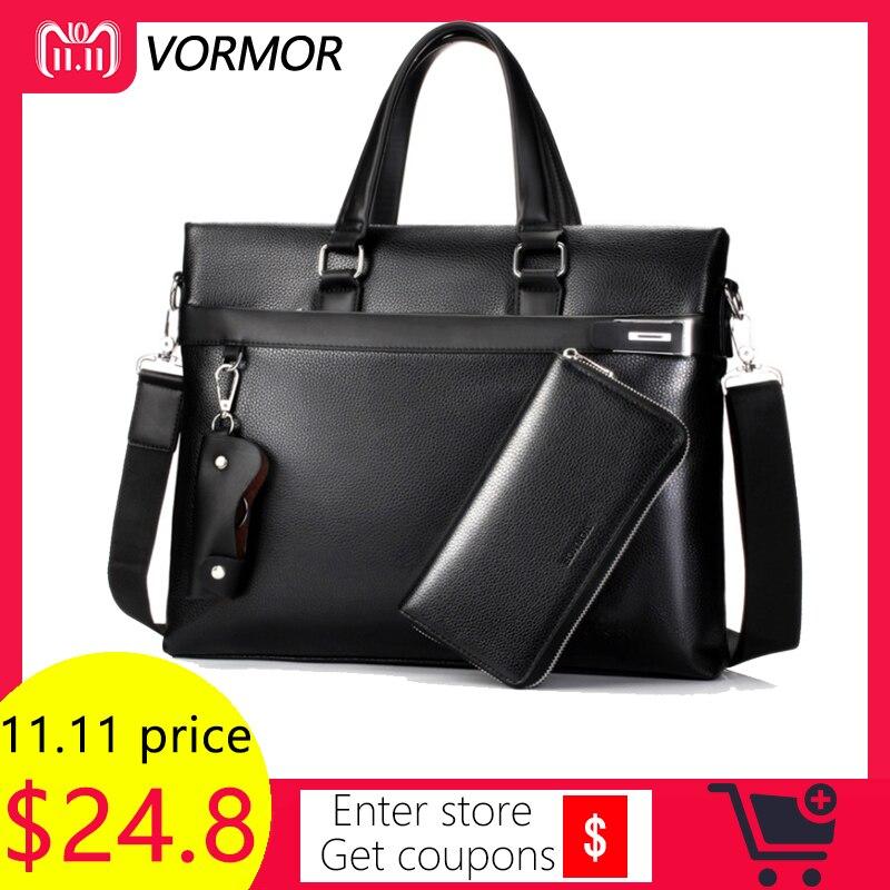 VORMOR Fashion Men Tote Casual Briefcase Business Shoulder Black Leather High Quality Messenger Bags Laptop Handbag Men's Bag все цены