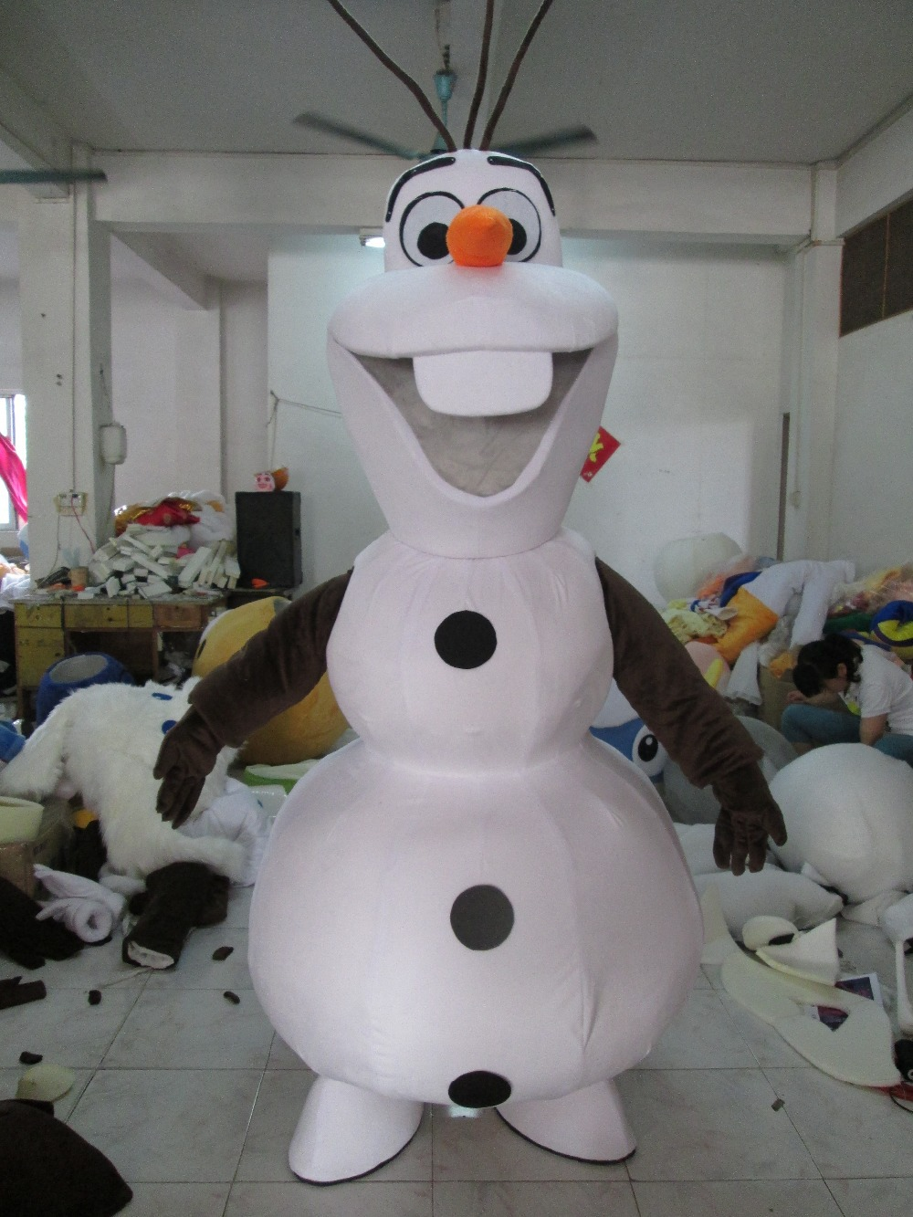 High Quality Party Smiling Olaf Mascot Costume Snowman Fancy Dress Adult EPE Material