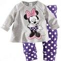 Fashion Sweet Minnie Mouse Polka Dot Kids Girls Long Sleeve Nightwear round neck Pajamas Sleepwear Suit