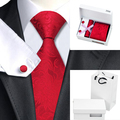 Nuevo Estilo Para Hombre Lazo Rojo Floral de Seda Jacquard Corbata Hanky Gemelos con Bolsa de la Caja de Regalo Para Los Hombres de Negocios Del Banquete de Boda B-306