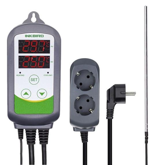 DE CN Lager Temperatur Thermometer ITC-308S EU Thermostat Temperatur Alarm Controller Mit Sonde Digital für BBQ Bier Ofen