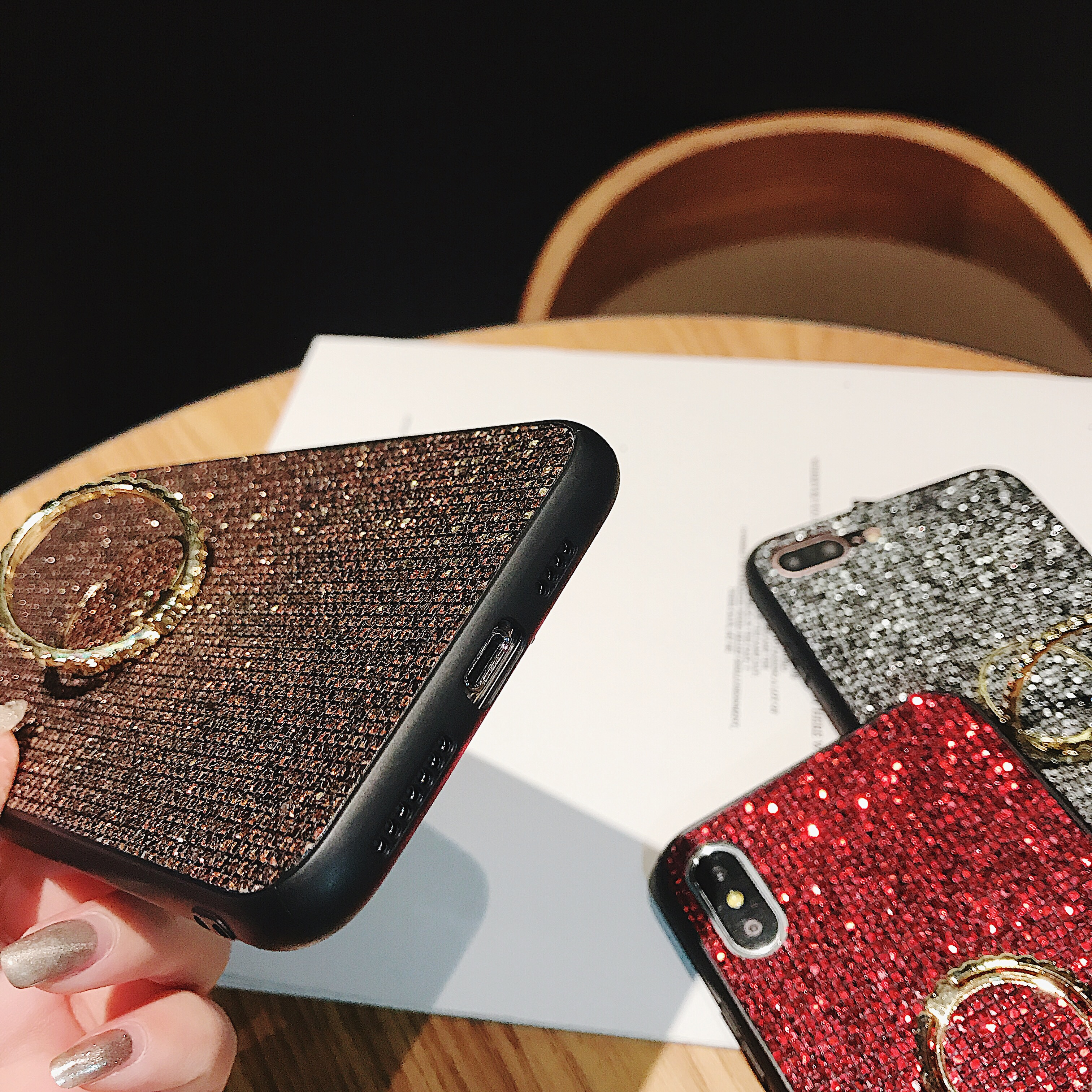 COPEONE Luxury Rhinestone Case for iPhone 7 7 Plus Plating Bling Cases for iPhone 6 6s 8 8 Plus X XS XR XSMAX Ring Holder Stand in Fitted Cases from Cellphones Telecommunications